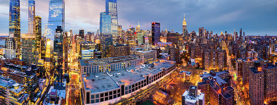 Aerial panorama of New York City skyline at dusk by Mihai Andritoiu