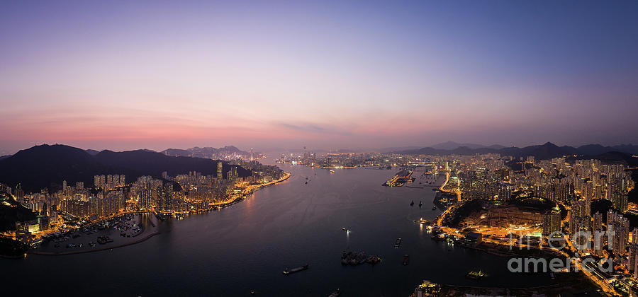Aerial panorama of the sunset over Hong Kong island and the Vict by Didier Marti