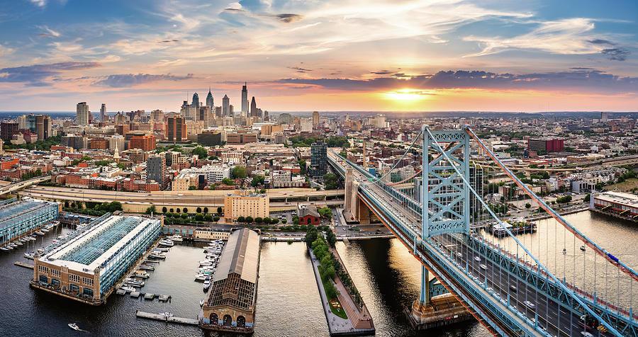 Aerial Panorama With Ben Franklin Bridge And Philadelphia Skyline Photograph