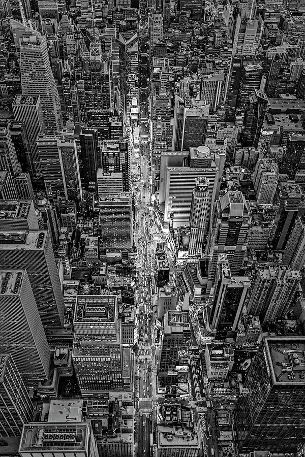 Aerial Times Square New York City  BW by Susan Candelario