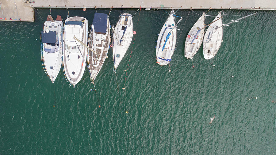 Aerial Top Down Picture Of Yachts Anchored In Port. Photograph