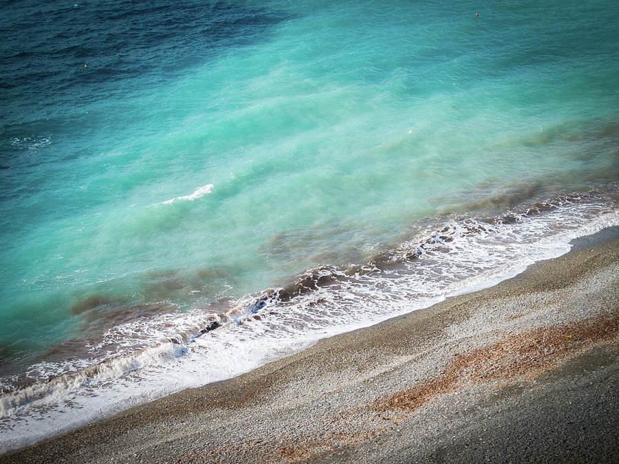 Aerial View Of A Deserted Beach Turquoise Water Rough Sea Photograph By Luca Rei