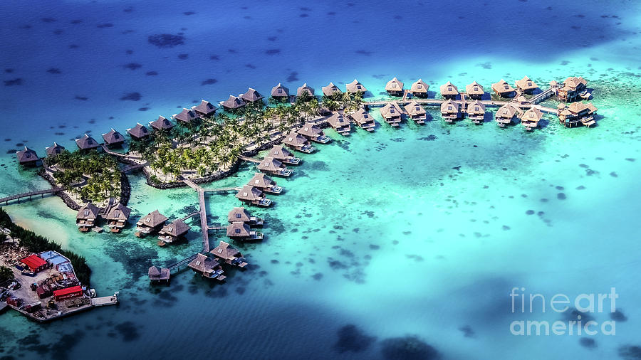 Aerial view of a resort in Bora Bora by Lyl Dil Creations