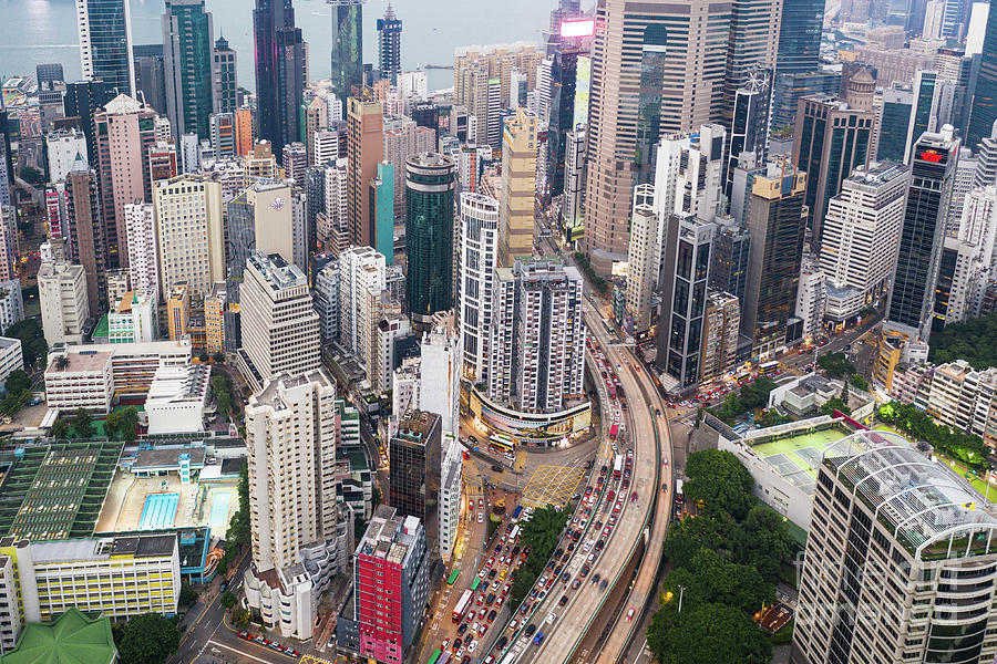 Aerial view of an highway through the very dense Causeway Bay in by Didier Marti