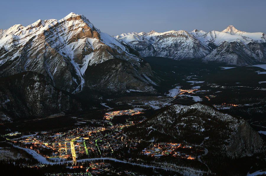 Aerial View of Banff Alberta Canada in Winter Photograph by ImagineGolf