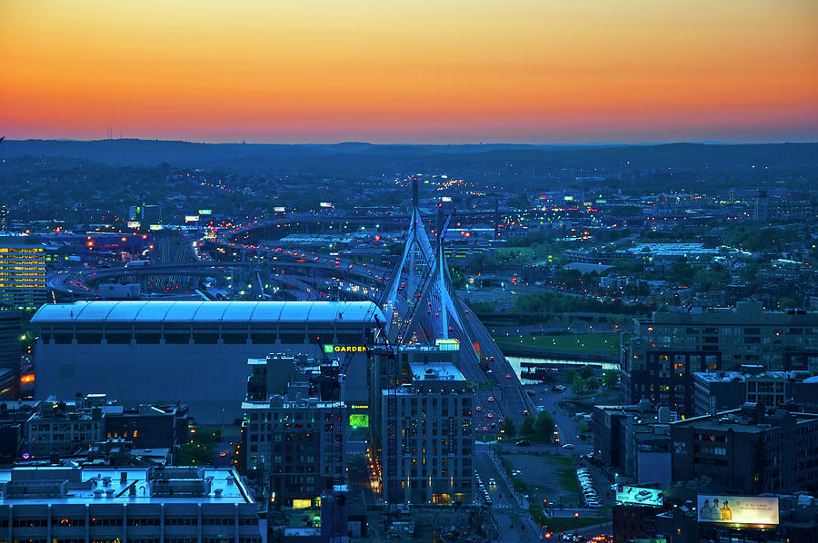 Aerial View Of  Boston Zakim Bridge At Sunset Photograph