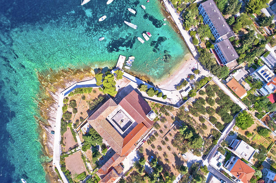 Aerial View Of Franciscan Monastery And Amazing Turquoise Beach Photograph