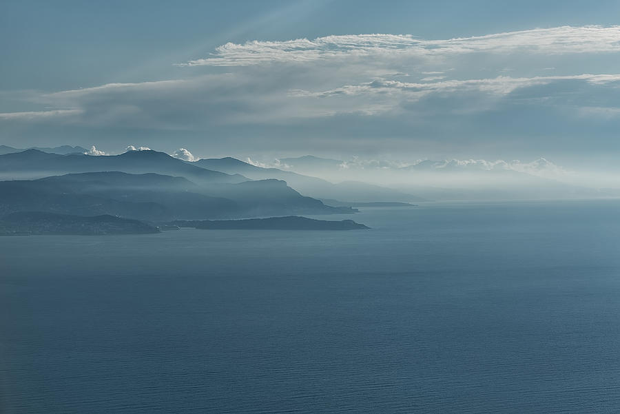 Aerial view of seascape, coast and mist Photograph by Jean-Marc PAYET