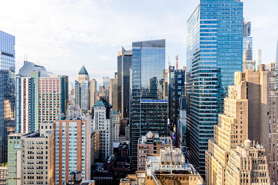 Aerial view of skyscrapers in New York City, USA Photograph by Alexander Spatari