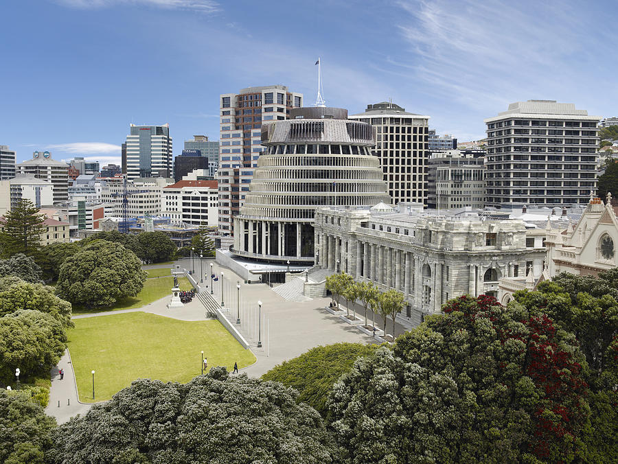 Aerial view of The Beehive and NZ Parliament House Photograph by Lewis Mulatero