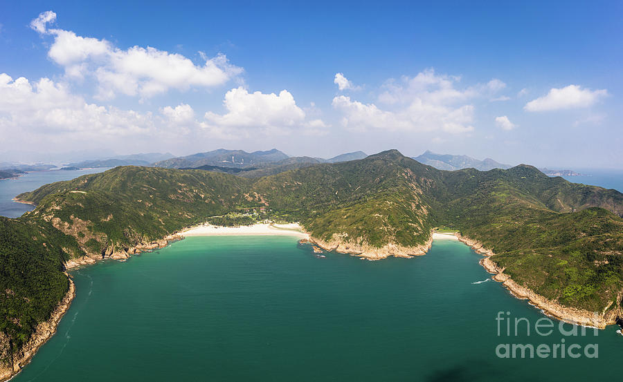 Aerial view of the stunning Sai Kung peninsula with remote beach by Didier Marti