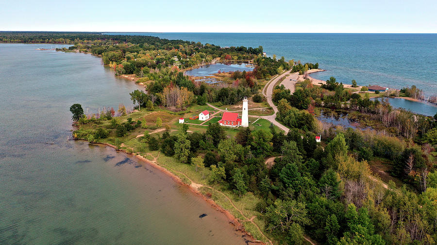 Aerial View Of The Tawas Point Lighthouse And Lake Huron Photograph