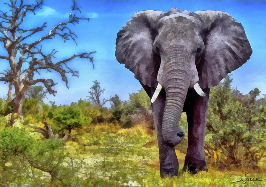 Africa Elephant Painting - Africa Elephant by George Rossidis
