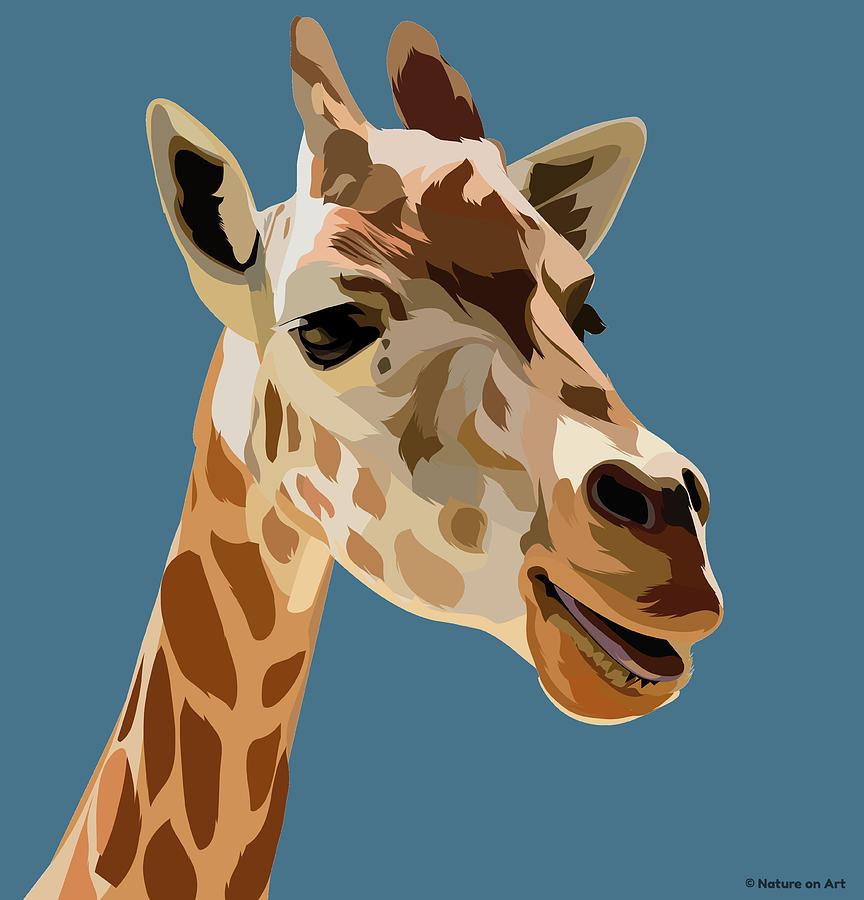 African Giraffe Mixed Media