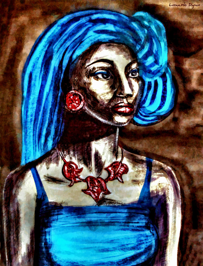 African Girl With Blue Hair Portrait Remake - Pa Painting