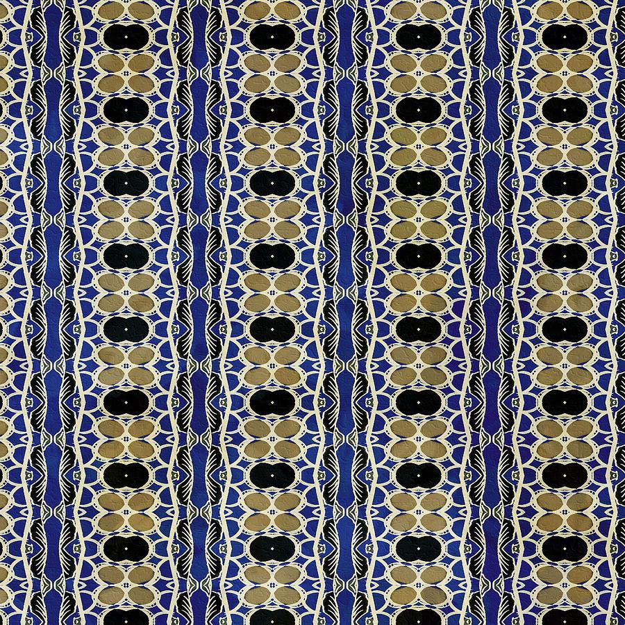 African Leaf Stripe Print Indigo Digital Art