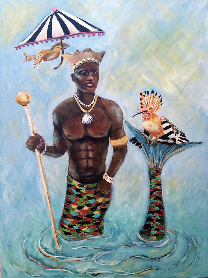 Merman Painting - African Merman King Merman Painting by Linda Queally by Linda Queally