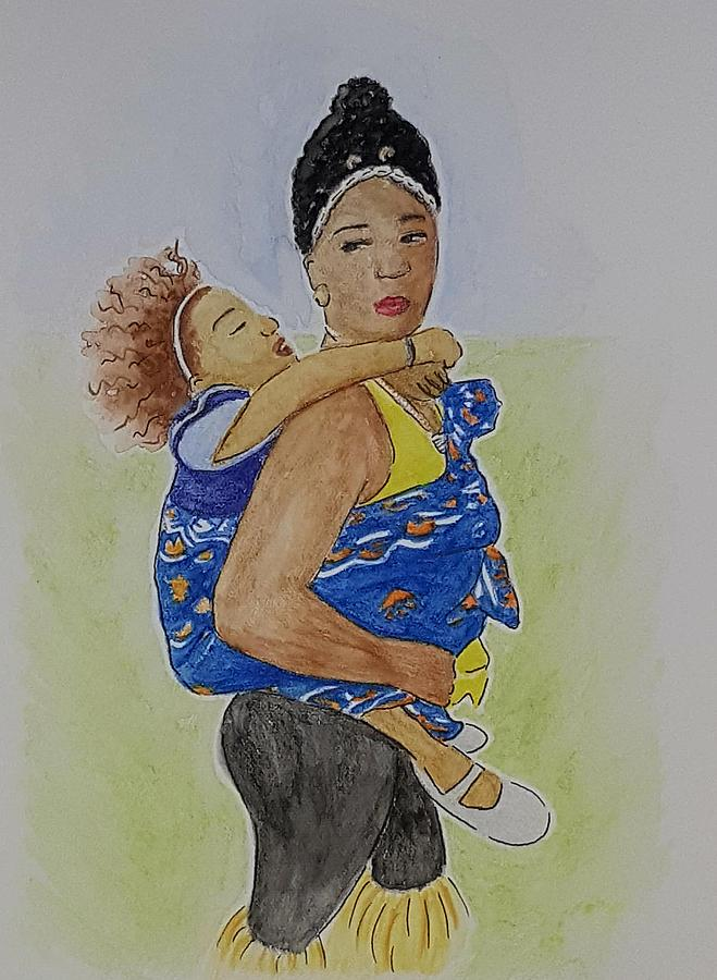 Mother Drawing - African Mother by Michelle Ripari