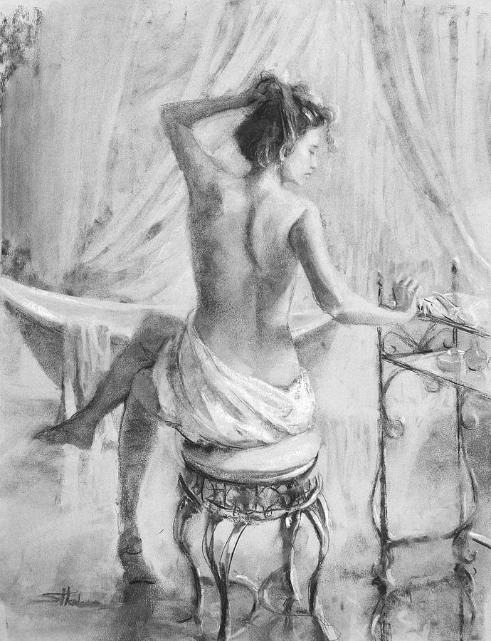 After The Bath Grayscale Drawing