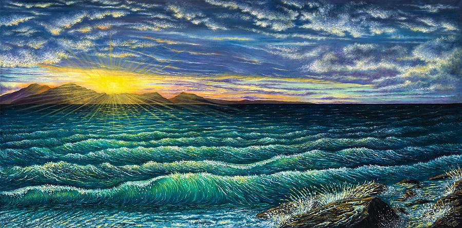 Seascape Painting - Afterglow by Donna L Byers