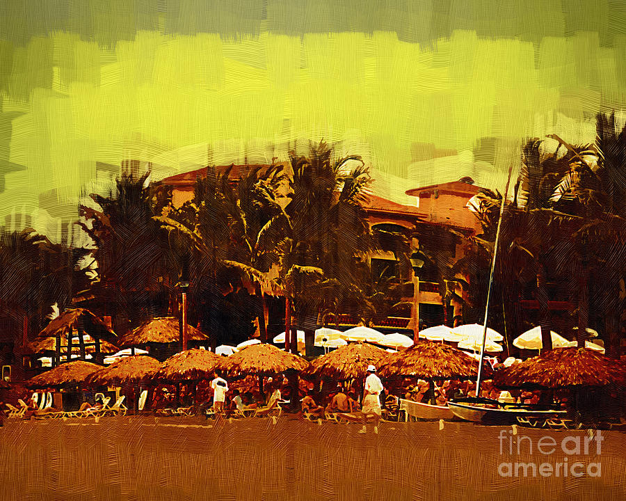 Resort Digital Art - Afternoon At The Beach by Kirt Tisdale