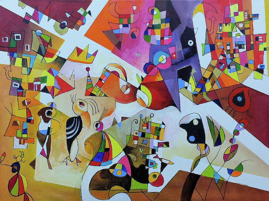 Surrealism Painting - Afternoon walk by Miljenko Bengez