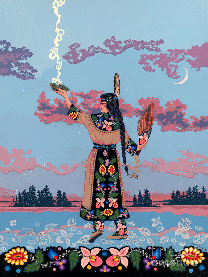 Native Woman Painting - Agwamo - She Walks on Water by Chholing Taha