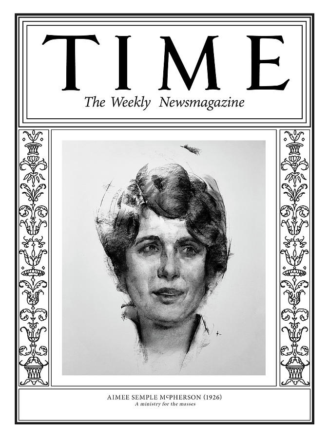 Time Photograph - Aimee Semple McPherson, 1926 by Illustration by George Dawnay for TIME
