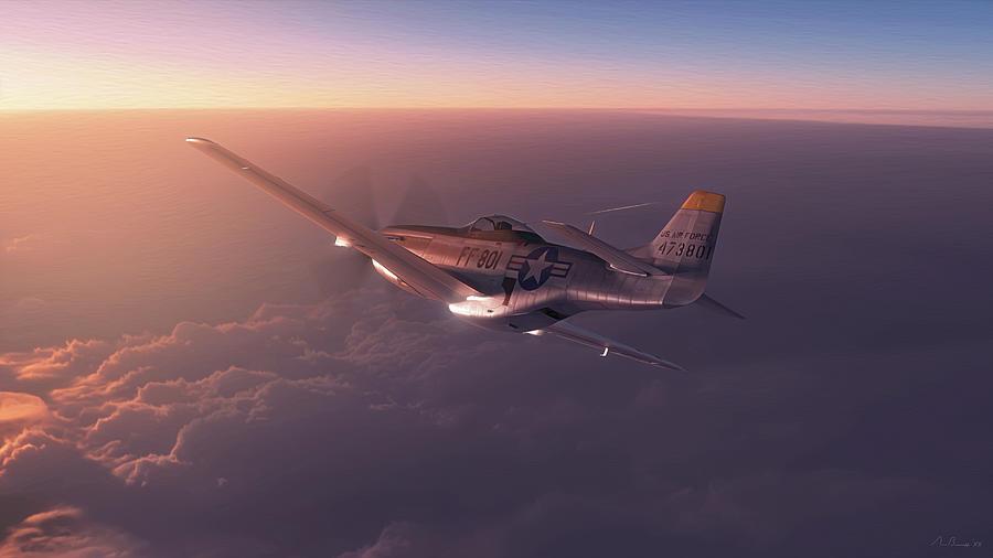 P-51 Digital Art - Air Force 801 by Hangar B Productions
