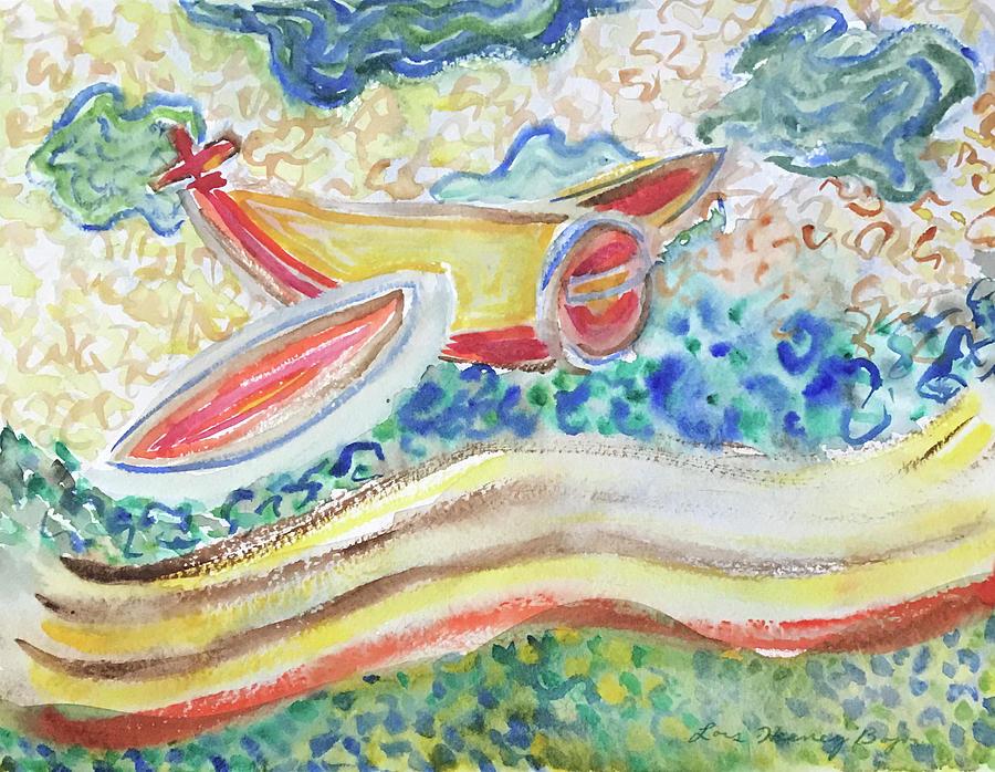 Australia Painting - Airplane Aboriginal Style by Lois Bajor