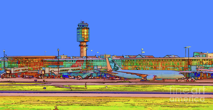Airport View At Blue Time Digital Art
