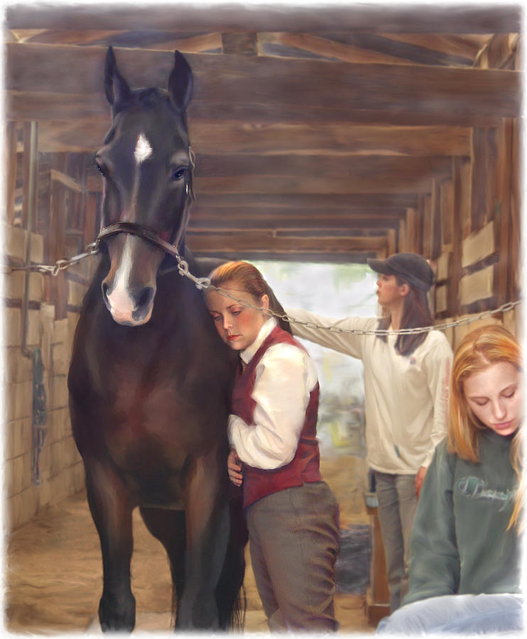 Horse Painting - Aisle Hug Horse Show Barn Candid Moment  by Connie Moses