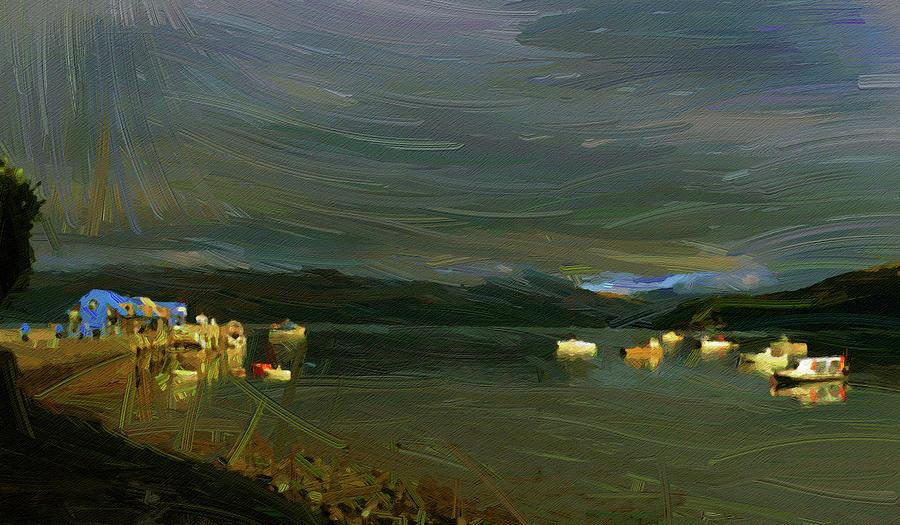 Akaroa Harbour , Banks Peninsula In The Canterbury Region Of New Zealand, Oil Painting Ca 2020 By Ah Digital Art