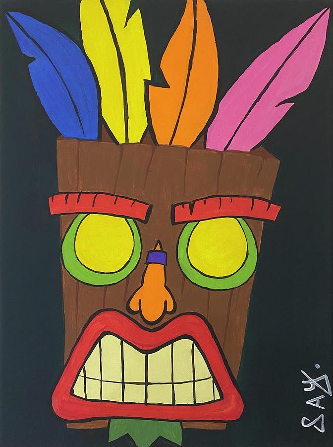 Tikki Painting - Aku Aku by Mike Boodram