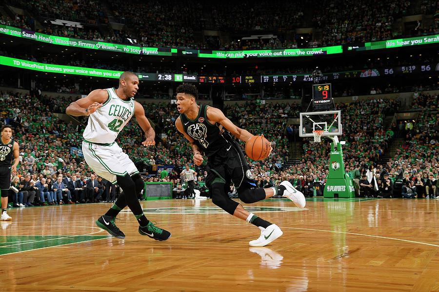 Al Horford and Giannis Antetokounmpo Photograph by Brian Babineau