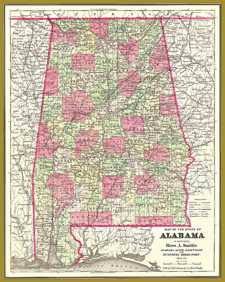Alabama map wtih counties, circa 1884 by Phil Cardamone