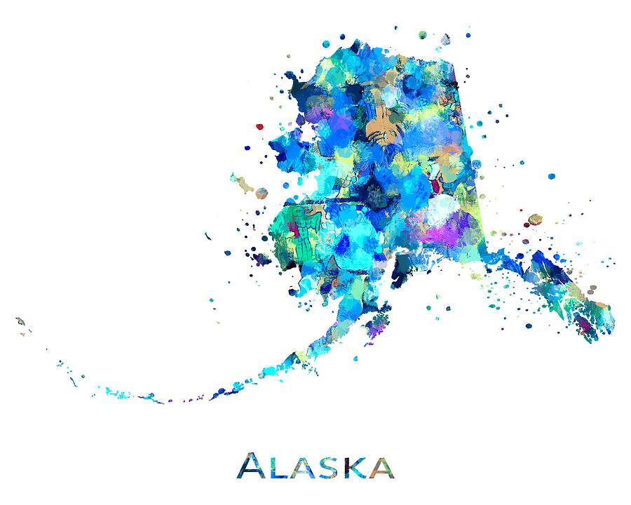 Alaska Painting - Alaska Map Art by Zuzi s