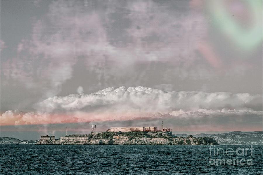 Alcatraz Digital Art - Alcatraz Island - Grunge by Chris Mautz