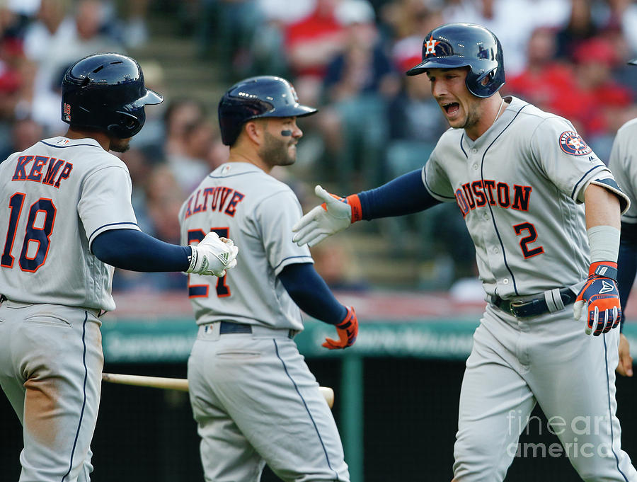 Alex Bregman, Mike Clevinger, and Tony Kemp Photograph by Ron Schwane
