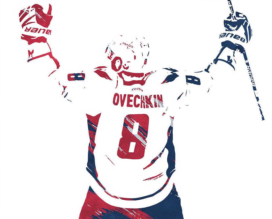Alexander Ovechkin WASHINGTON CAPITALS WATERCOLOR STROKES PIXEL ART 1 by Joe Hamilton