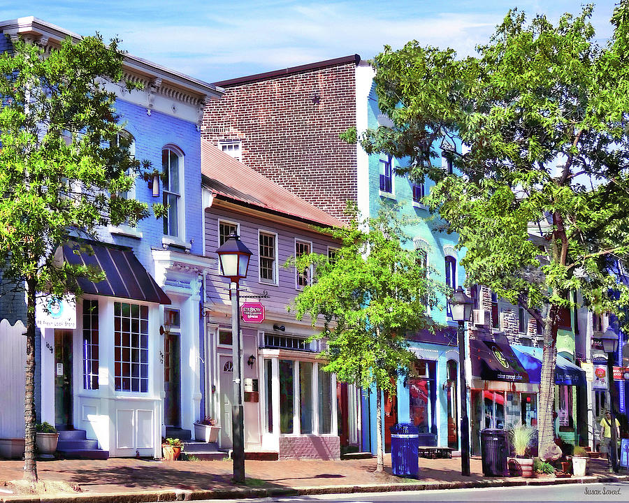 Alexandria Photograph - Alexandria Va - Blue Buildings On King Street by Susan Savad
