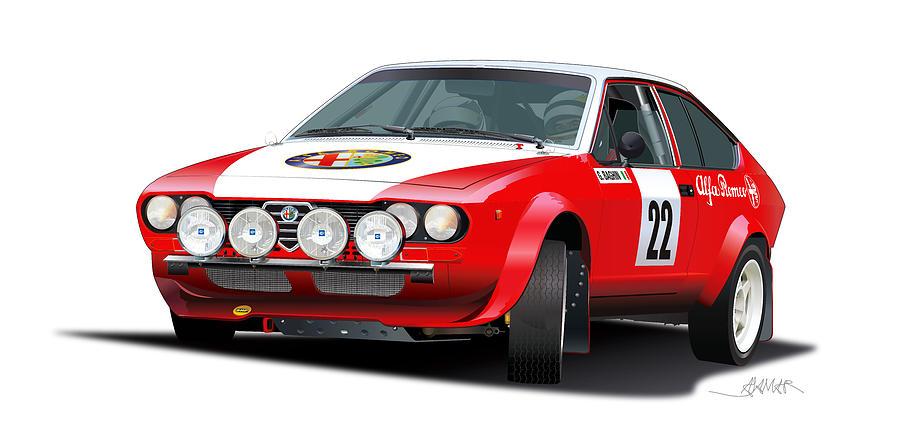 Alfa Romeo Gtv4 Illustration Drawing by Alain Jamar