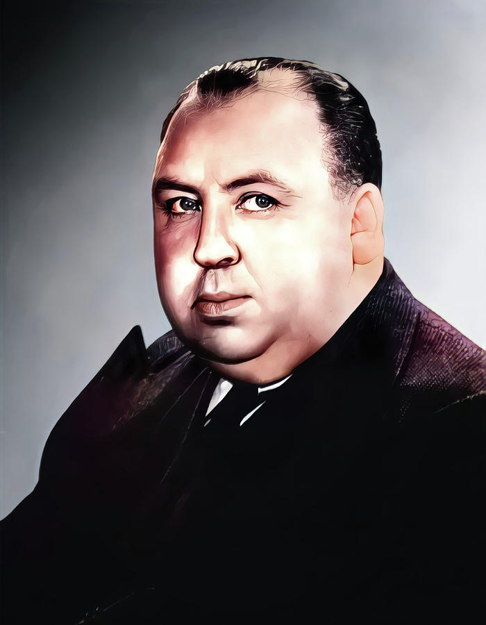 Actor Painting - Alfred Hitchcock English film director by Vincent Monozlay