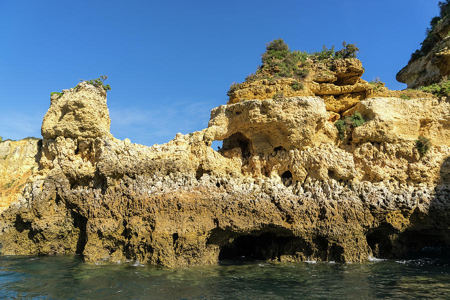 Algarve Gold Coast Sail - Boldly Colored Cliffs And Naturally Sculpted Forms In Lagos Portugal Photograph