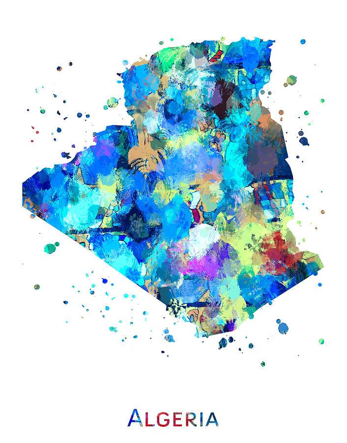 Algeria Painting - Algeria Map Art by Zuzi s