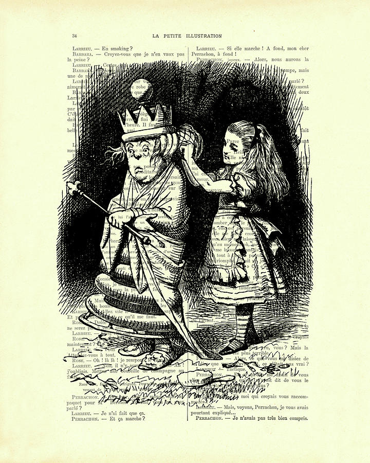 Alice In Wonderland Drawing - Alice in Wonderland and the Queen by Madame Memento