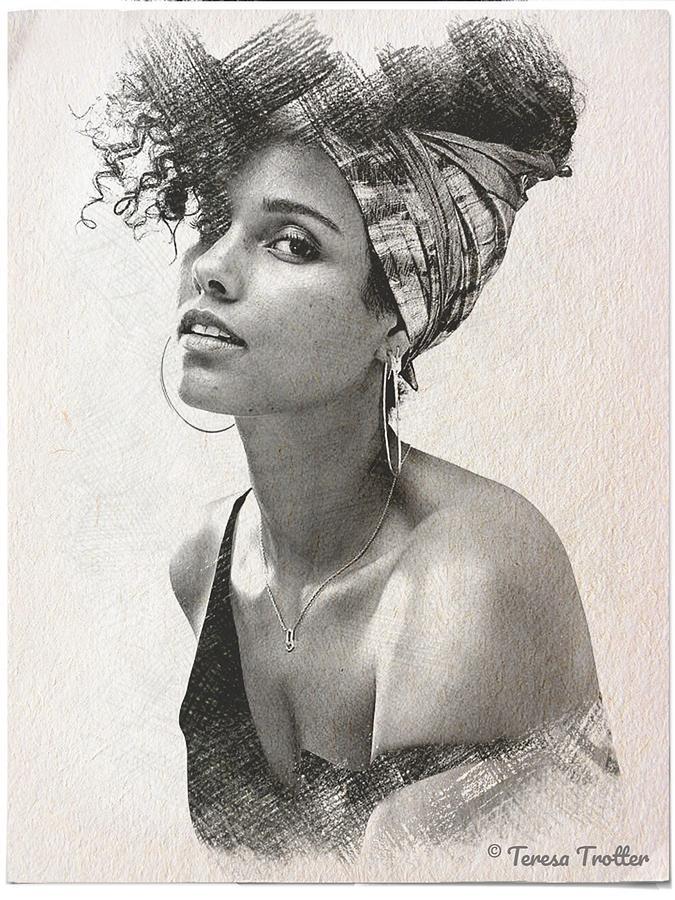 Alicia Keys Sketch Drawing