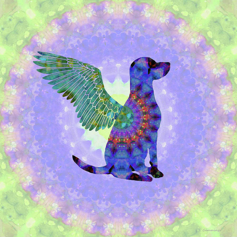 Dog Painting - All Dogs Go To Heaven - Colorful Mandala Art - Sharon Cummings by Sharon Cummings