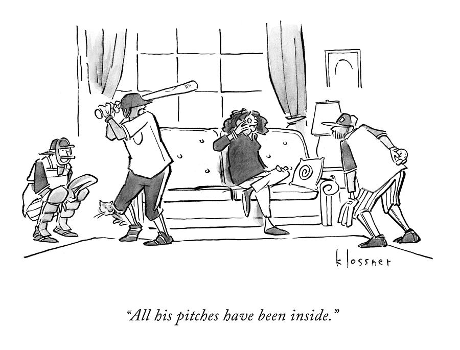 All His Pitches Drawing by John Klossner