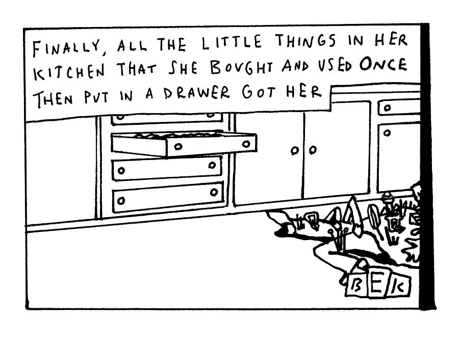 All The Little Things In Her Kitchen Drawing by Bruce Eric Kaplan